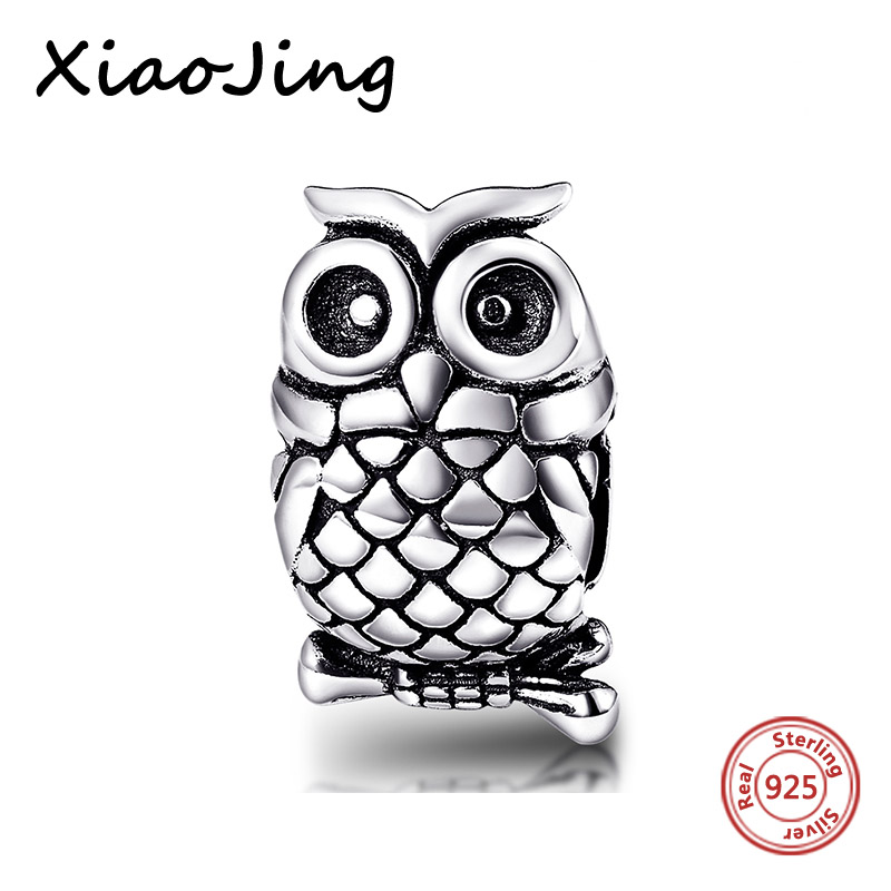 925 Sterling Silver charm Bracelet Beads Owl animal european diy Fit Authentic pandora charms Silver Bracelets Jewelry Gifts