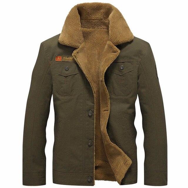 9293b090b US $27.99 44% OFF|2018 Winter Men Bomber Jacket Air Force Pilot Jacket warm  fur collar Male Tactical Military coat Plus velvet Mens Jacket 5XL-in ...