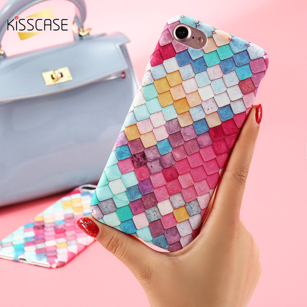 Kisscase colorful grid hard phone case for iphone 7 7 plus for 3d decoration for phone cases