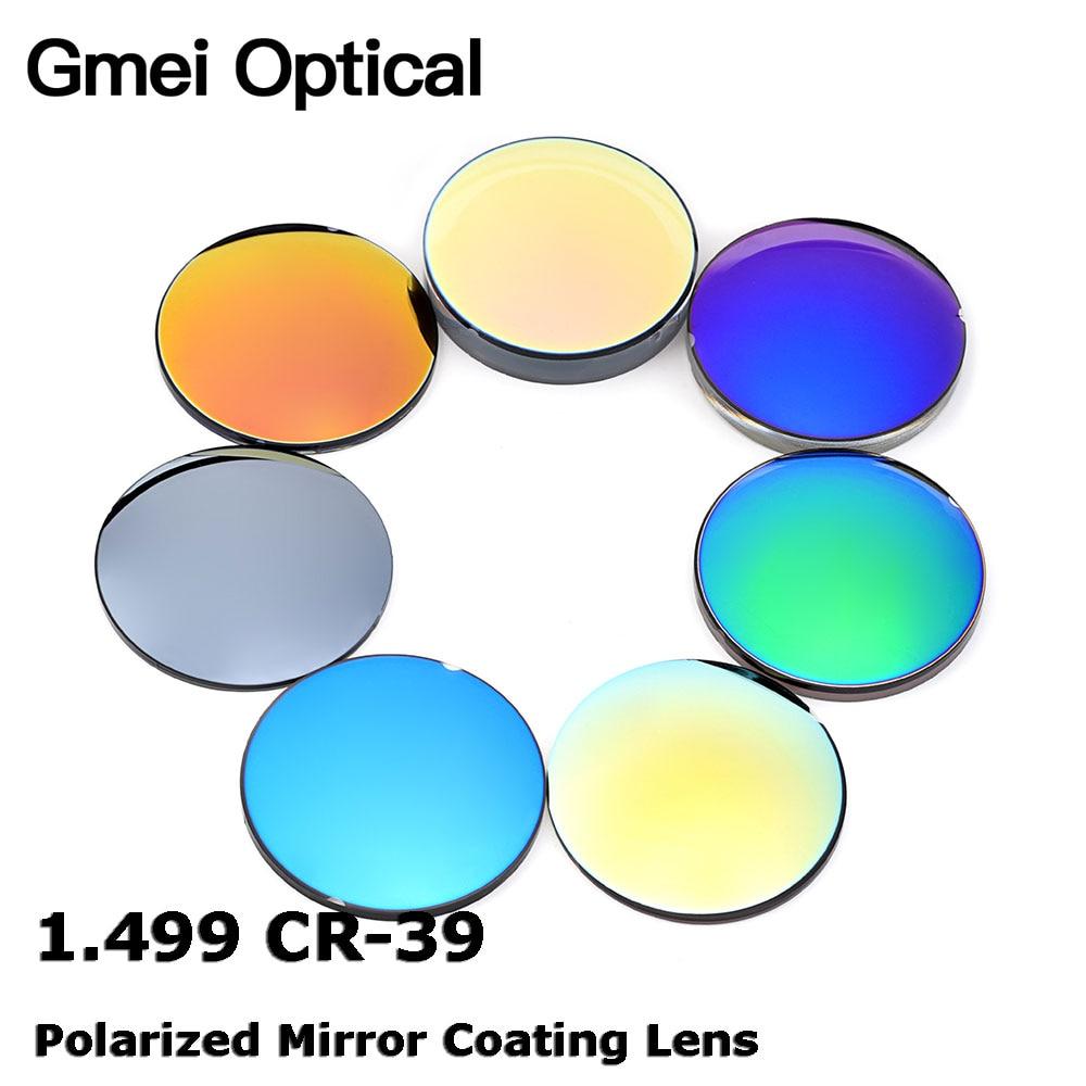 Gmei Optical 1.499 CR-39 Standard Index Resin Mirror Colourful Coating Polarized Myopia Sunglasses Prescription Optical Lenses