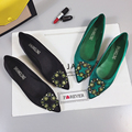 Green Rhinestone Flat Heel Shoes Women 2017 Spring Pointed Toe Famous Star flats Shoes Loafers