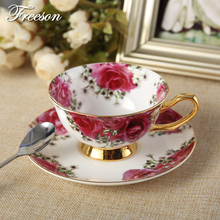 Europe Luxury Rose Bone China Coffee Cup Ceramic Tea Cup Saucer Spoon Set 200ml Advanced Porcelain Cafe Teacup Gift
