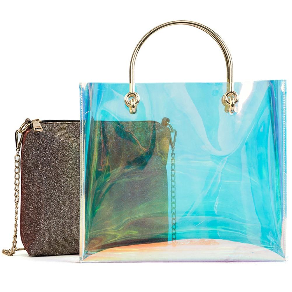 Nouveautés holographique sac de plage pour les femmes 2018 de mode transparent sac à main 2 Pcs laser épaule sac PVC transparent femmes fourre-tout sacs