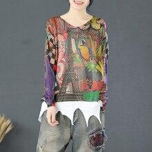 Свободные нарисованные Мультяшные узоры Харадзюку джемпер женские тонкие Топы Pull Femme Повседневные вязаные пуловеры в стиле ретро