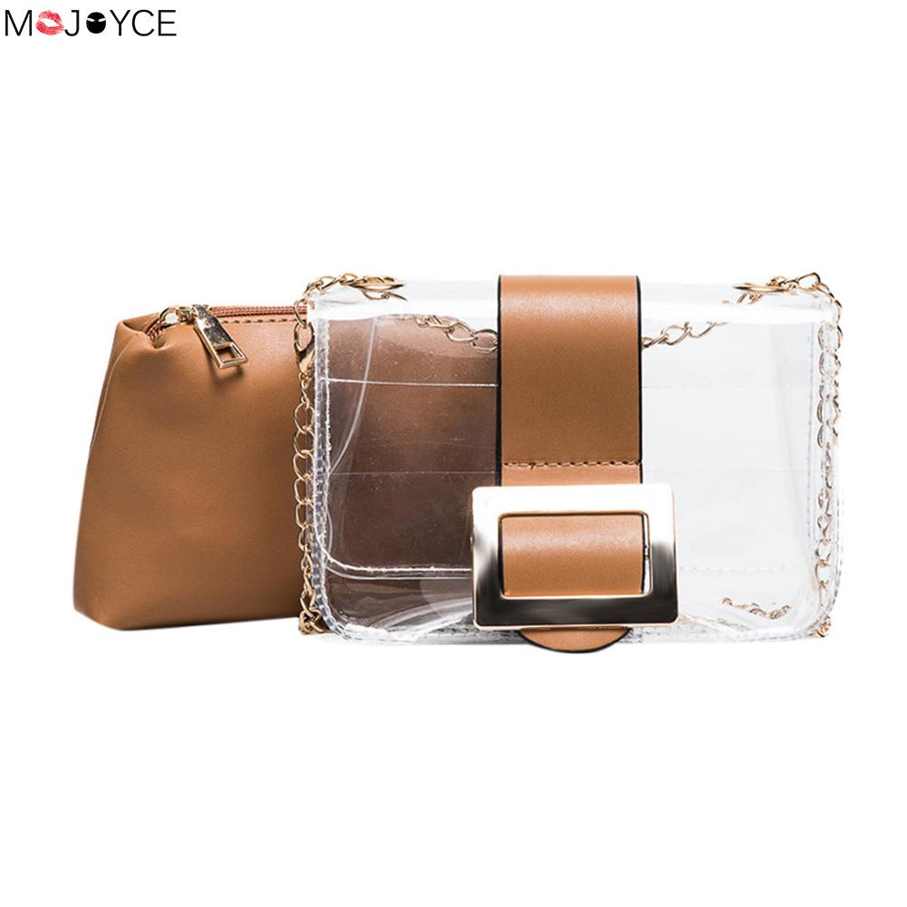 2pcs/set Summer Woman Brand Jelly Transparent Bag Women PVC Mini Messenger Chain Crossbody Bags  conjunto de bolsas femenina mini gray shaggy deer pvc quilted chain bag with cover real picture