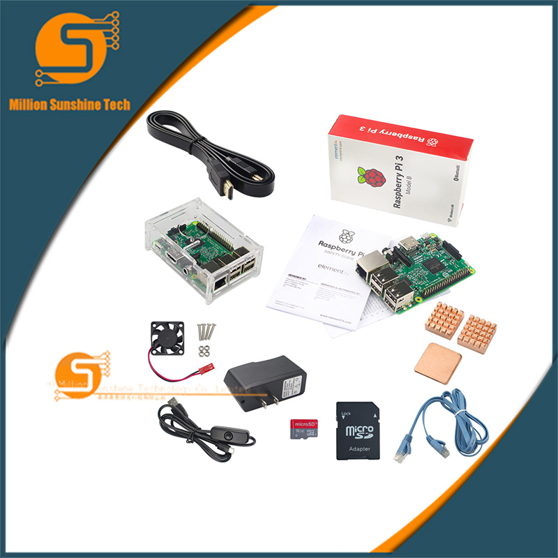 Raspberry Pie 3 Generation B-Type Raspberry Pi 3 Model B Development Board Accessories combination Base Kit xilinx fpga development board xilinx spartan 3e xc3s250e evaluation board kit lcd1602 lcd12864 12 modules open3s250e package b