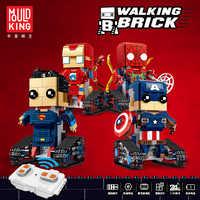 Marvel superbohaterowie Spiderman Superman Walking klocki legoeds Technic zestawy zdalnie sterowany silnik dzieci klocki zabawki