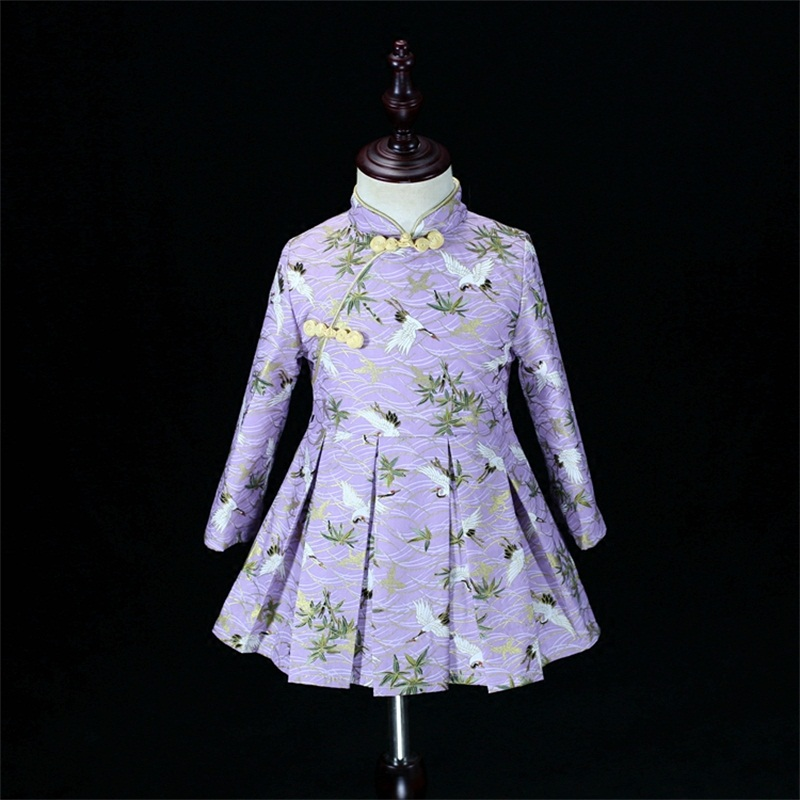Autumn Winter mother and daughter dress girls cotton bronzing crane pleated skirt mom baby cheongsam clothes family look outfits checcivan family mom daughter short t shirt 2017 autumn mother