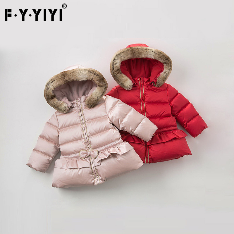 New year winter children's clothing girls down jacket Baby connecting cap Warm down jacket girls clothing down