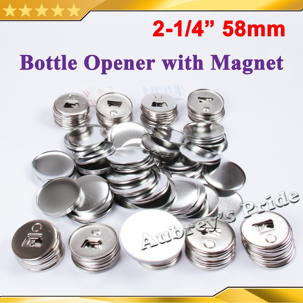 2 1 4 58mm 100 Sets Bottle Opener with Magnet Nickle Badge Button Supply Materials for