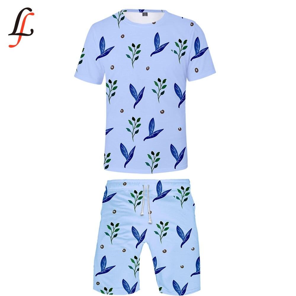 Leaf 3D 2019 New 3D Print Casual Cool Man 2 Set Summer Popular Hip Hop Fashion High Street T-shirt Shirt+Short Pants Sets