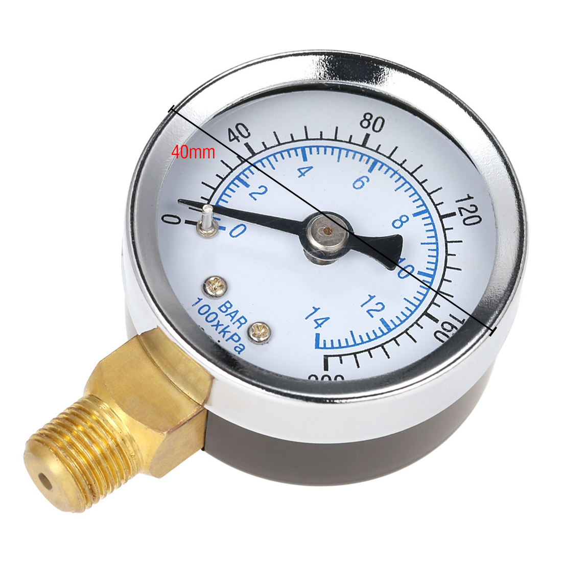 0 200PSI 0 14bar 40MM Pressure Gauge Double Scale Hydraulic Compressed Air Pressure Gauge Tester Pressure Measuring Instruments in Pressure Gauges from Tools