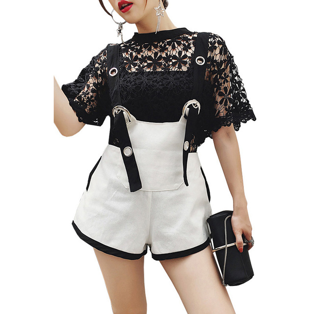 2019 New Fashion Women Suits Casual Summer Outfits Chic Lace Shirt Top With Suspender Shorts Suits Two Piece Set Female