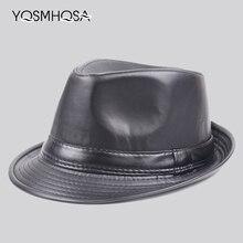 18eaa6f6 Men Black Leather Fedoras Jazz Cap Retro Winter PU Leather Flat Caps Panama  Fedora Hat Women