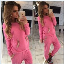 2018 New Print Womens Tracksuits O-Neck Set Suits For Women hoodies sweatshirt for women long pants lady female Solid Laipelar