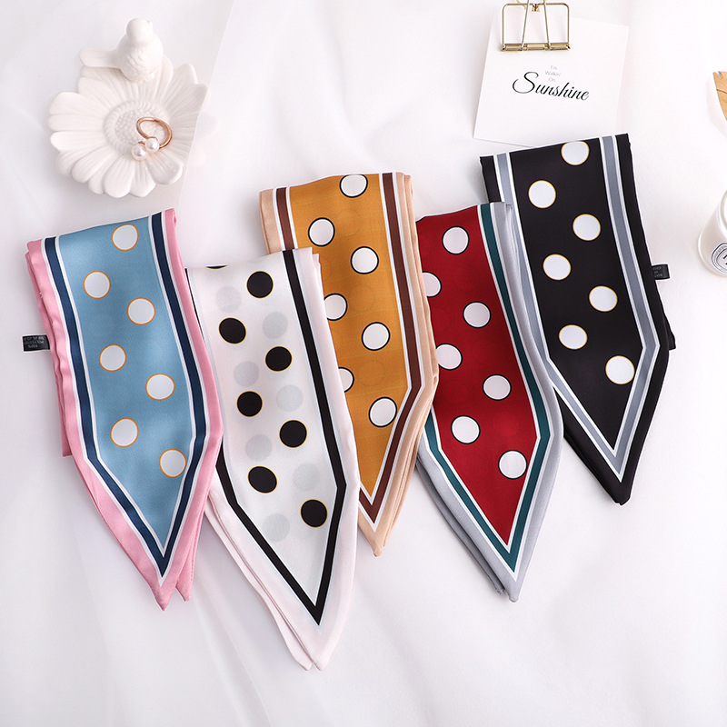 90*10cm small silk   scarf   women New Design Skinny   Scarf   solid striped Print Handle Bag Ribbon Female Head   Scarves     Wrap   For Lady