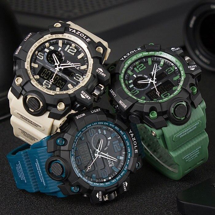 a4ccb2a90aa03 YAZOLE جديد الرياضة ووتش الرجال العسكرية الجيش الشهيرة العلامة التجارية  الإلكترونية الذكور ساعة اليد Led معصم