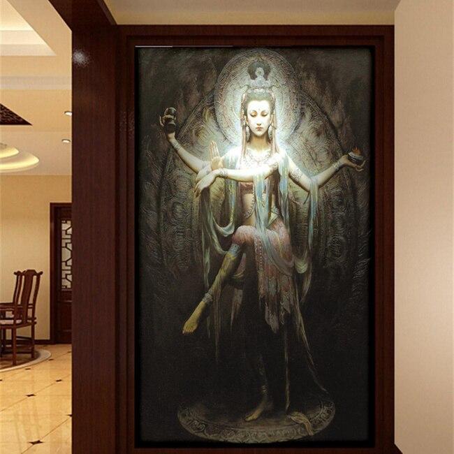 Seamless large mural wallpaper wallpaper tv background for Buddha mural wallpaper