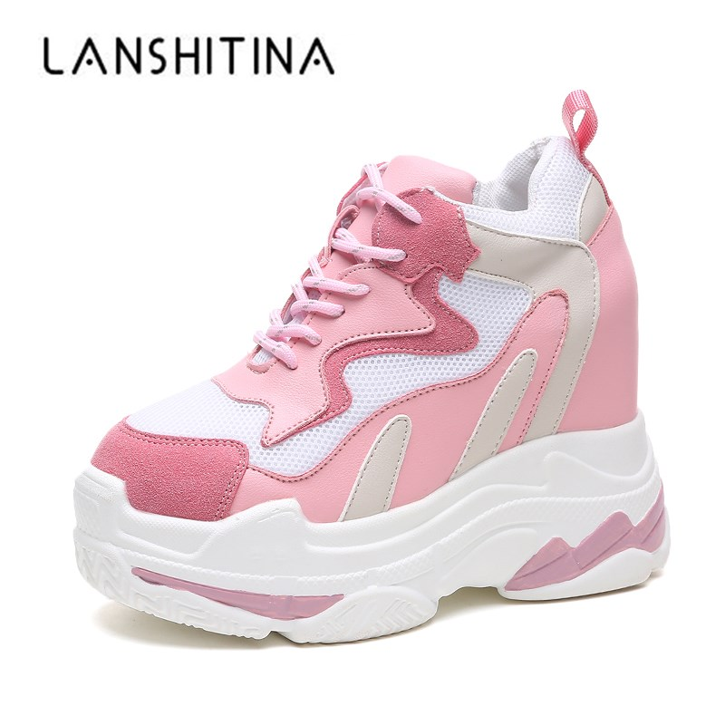 2019 Women Sneakers Mesh Casual Platform Trainers White Shoes 11CM Heels Autumn Wedges Breathable Woman Height Increasing Shoes2019 Women Sneakers Mesh Casual Platform Trainers White Shoes 11CM Heels Autumn Wedges Breathable Woman Height Increasing Shoes