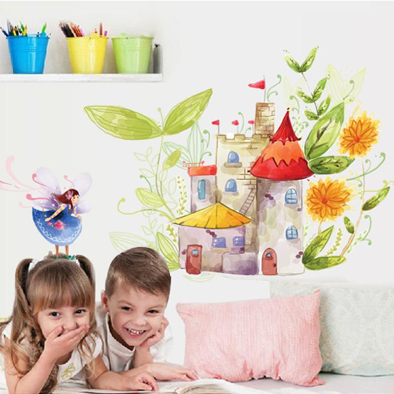 colorful princess flower fairy wall stickers for kids rooms home ...