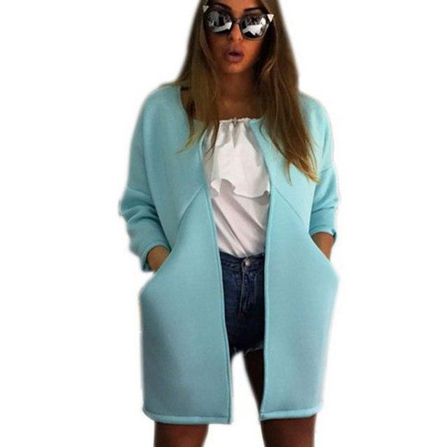 Fashion Solid Jackets Coats Women Space Cotton Slim Women Winter Coats Jacket Femal Cardigans Oversized With Pocket O-Neck