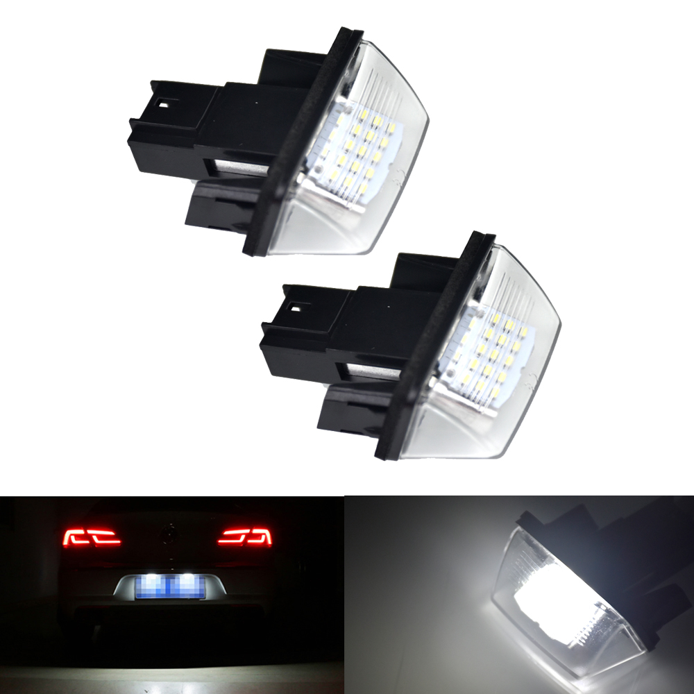 2Pcs NO ERROR Car LED License Plate Lights For Peugeot 206 207 306 307 308 5008 406 407 For Citroen C3 C4 C5 C6 Berlingo custom fit car trunk mat for hyundai ix25 ix35 elantra santafe solaris tucson verna veloster car styling tray carpet cargo liner