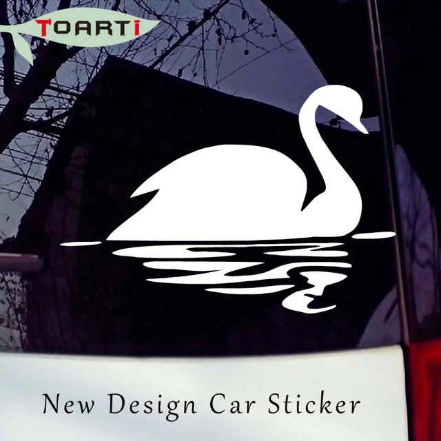 Swimming swan reflections in the water car sticker artistic animal vinyl car decals styling waterproof cars