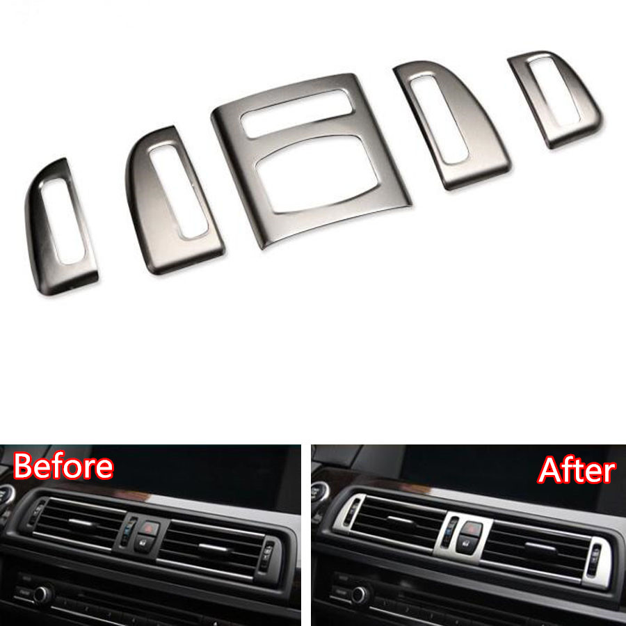 YAQUICKA Stainless Steel font b Car b font Front Dashboard Air Conditioner Outlet Vent Frame Trim