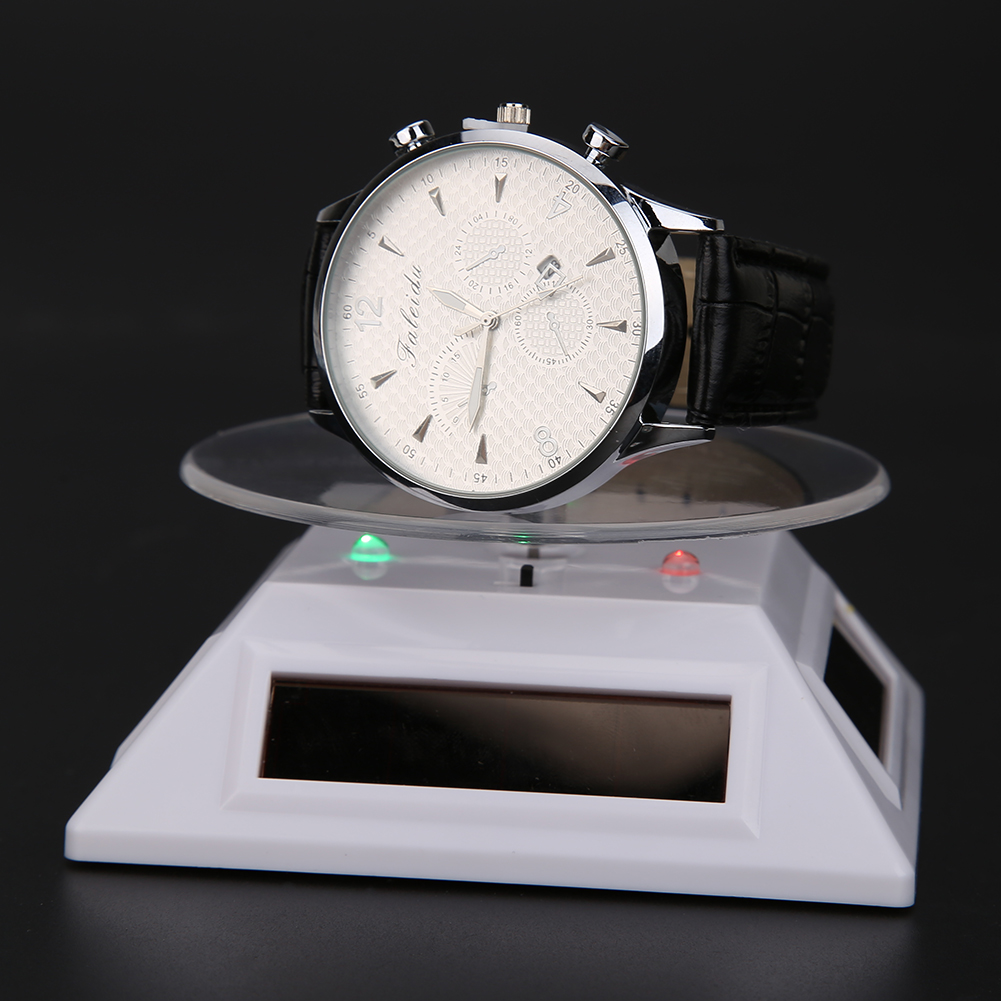 New Fashion 3LED Color Lights Solar Showcase 360 Turntable Rotating Jewelry Watch Ring Display Stand Creative Jewelry Display