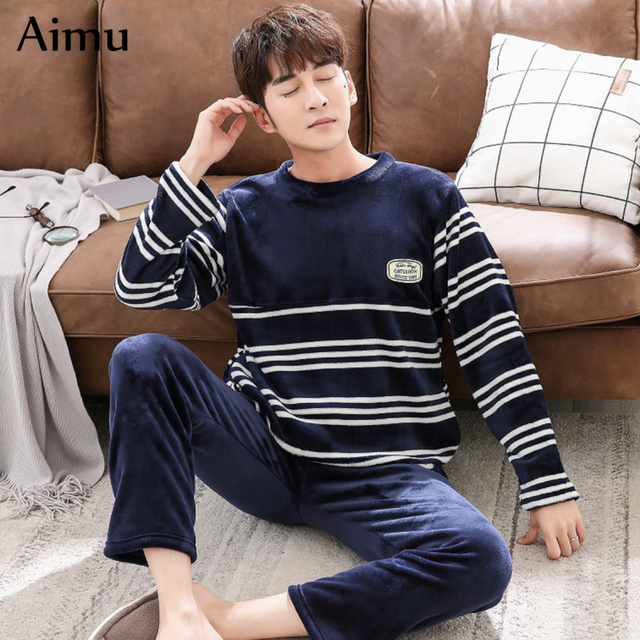 0896c9bc6b Winter men pajamas Coral Fleece Warm Thicken pajama set Flannel Long Sleeve  men Nightwear mens plus