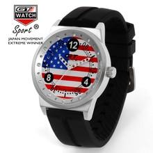 Flag Design Racing GT Watch Men Quartz Analog Military Top Luxury Brand Sports Wristwatch with Silicone Strap Relogio Masculino