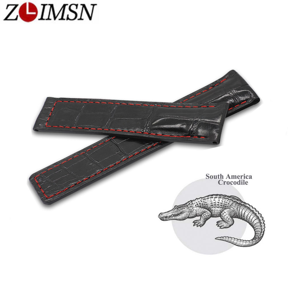 ZLIMSN New Handmade Bamboo Pattern Luxury Alligator Leather Watch Band Black Strap Red Line Can Be Customized Size 22mm 24mm все цены