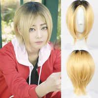 Anime Haikyuu!! Kenma Kozume Cosplay Perücke kurze gelb Kostüm Spielen Perücken Halloween Kostüme Haar + perücke kappe