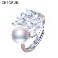 ZHBORUINI Pearl Ring Natural Freshwater Pearl Jewelry 925 Sterling Silver Rings For Women High Guality Flower Wedding Rings Gift