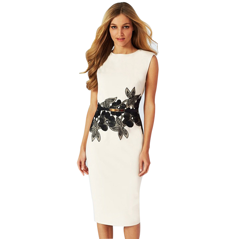 New Design Cocktail Party Sleeveless Stretchy Bandage Bodycon with Sashes Floral Printed Sheath Knee-Length Pencil <font><b>Dress</b></font> <font><b>White</b></font>