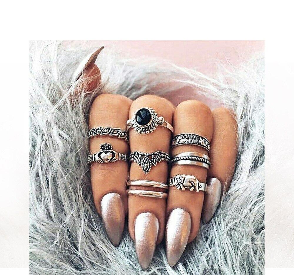 Mujer Hueco Tallado anillo conjunto Antiguo Plata Midi Dedo Nudillo Grande Flor Hoja