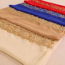 New Muslim plain lace Pearl floral Hijab glitter flower turban Scarf Islam female quality chiffon Beading Shawl Wrap headscarf