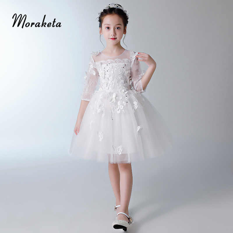 Encaje Mariposa Flores Vestido De Baile Blanco Vestidos De Comunión Para Niñas 2019 Princesa Flor Chica Vestidos Con Media Manga