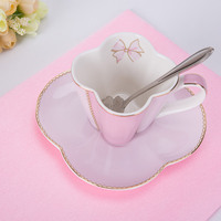 2017 New Style Porcelain Cups And Saucers With Spoon Ceramic Pastoralism Tea Set Designs Foam Packing