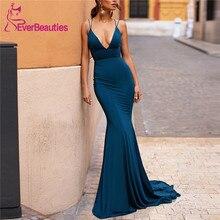 Spaghetti Straps Mermaid Evening Dresses Long 2019 V-Neck Satin Evening Party Dresses Sexy Backless Formal Dress Robe De Soiree цена