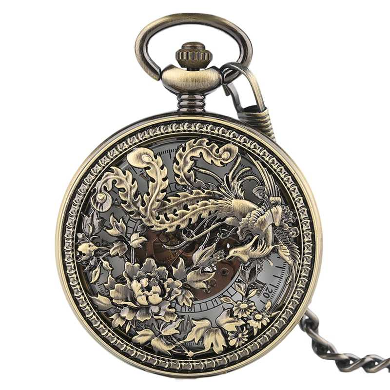 Vintage Exquisite Carving Phoenix Automatic Mechanical Pocket Watch Chain Women Fob Watches Fashion Retro Copper Hollow Clock