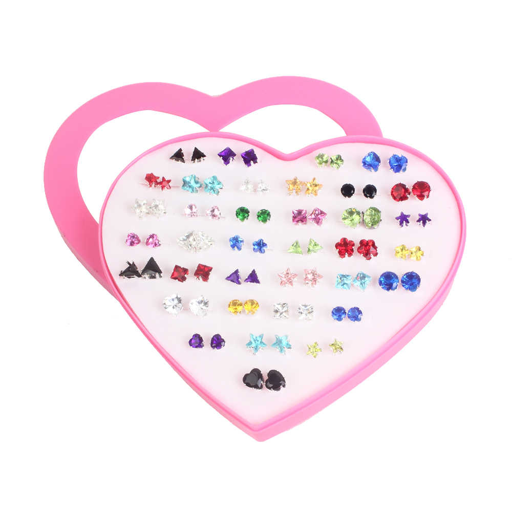 Women Crystal Pearl Stud Earrings Sets 36pairs/set Mixed Style Small Geometric Heart Bowknot Earring For Children Jewelry Gifts