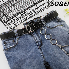 SOEI Punk Belt Women With Chain Double Ring Buckle Fashion Street Woman Belt 2019 Hot Web Belt Women Simple Designer Strap Women цена