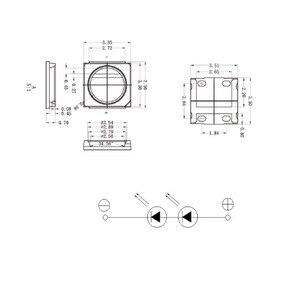 50 قطع ل LG LED LCD الخلفية التلفزيون تطبيق عالية الطاقة LED الخلفية 2 واط 6 فولت 3535 SMD LED بارد الأبيض