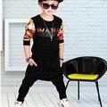 Niños deportes traje de niño trajes de ropa nueva 2017 del otoño del resorte niños hip hop ropa conjuntos niños camisetas y pantalones de tela
