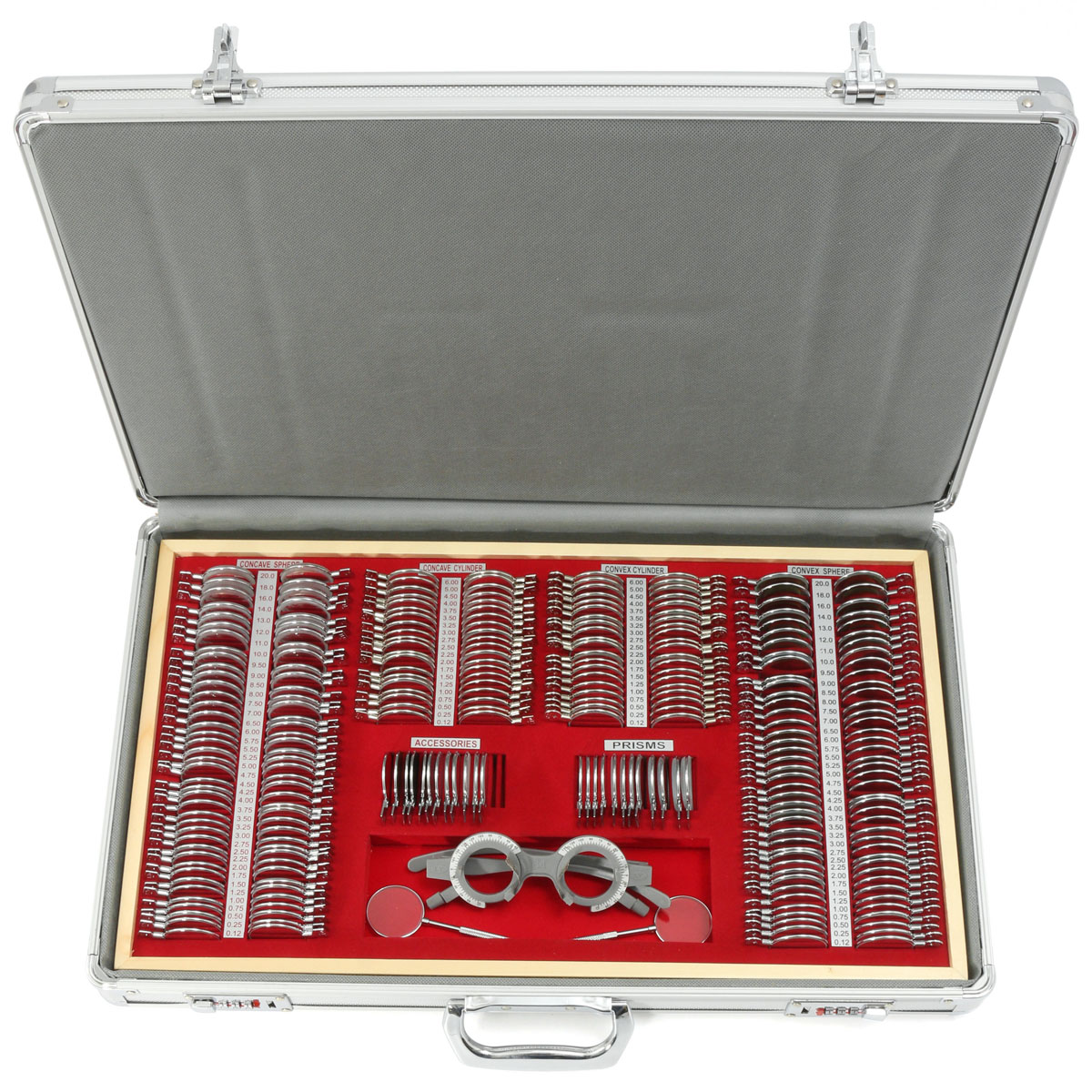 цены ZEAST 104/266Pcs Optical Lens Trial lens set Eye Test Optometry trial lens case Metal rim Aluminium case