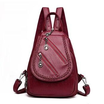 78418150e940 Мода двойной молнии для отдыха Для женщин рюкзак искусственная кожа рюкзаки  женские школьные сумки для девочек-подростков путешествия Back .