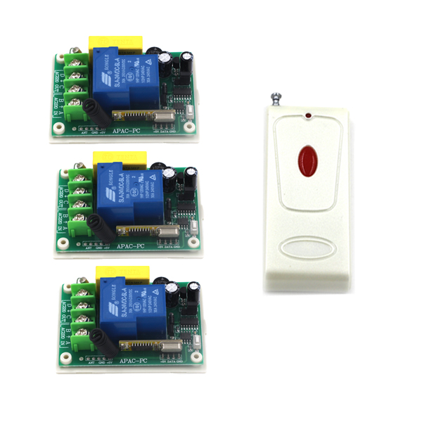Home Smart Control Single Channel 1CH AC 220V 30A RF Remote Control Switch Relay 3pcs Receivers Free Shipping SKU: 5548