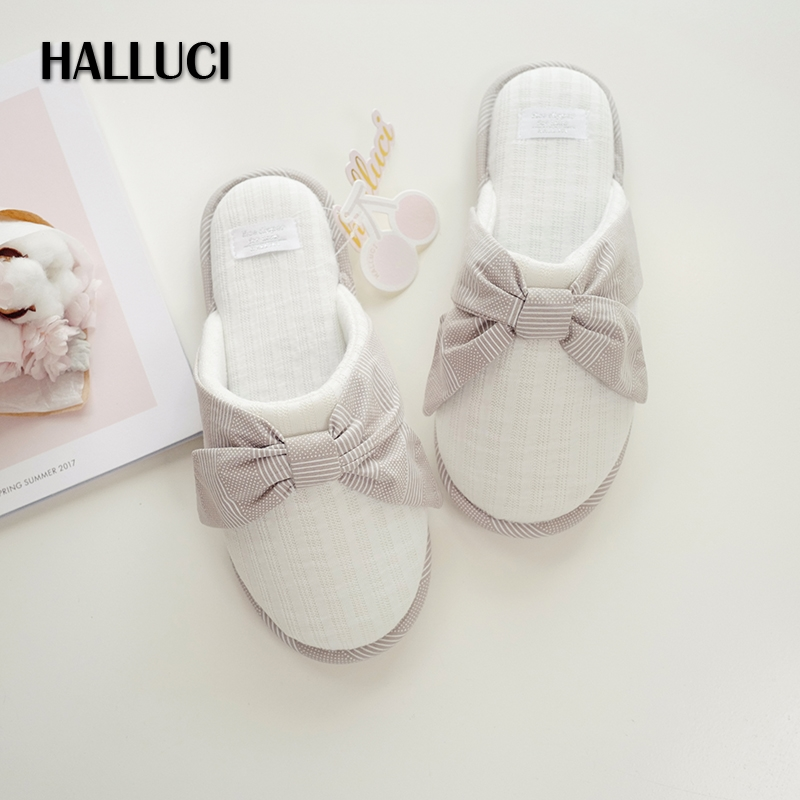 HALLUCI simple Lovely bowknot Gray home slippers shoes women knit indoor soft office shoes for women Slippers pantufa terlik