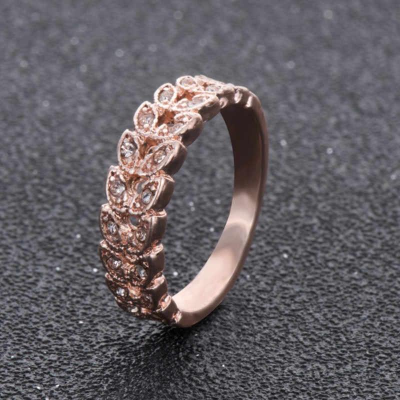 2018 простые кольца из розового золота с кристаллами для женщин, свадебные кольца в форме листа для дам, модные кольца на палец для женщин, подарки на день рождения
